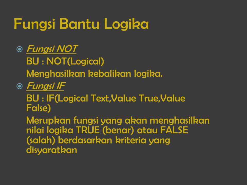 Fungsi Bantu Logika  Fungsi NOT BU : NOT(Logical) Menghasilkan kebalikan logika.  Fungsi IF BU : IF(Logical Text,Value True,Value False) Merupkan fu