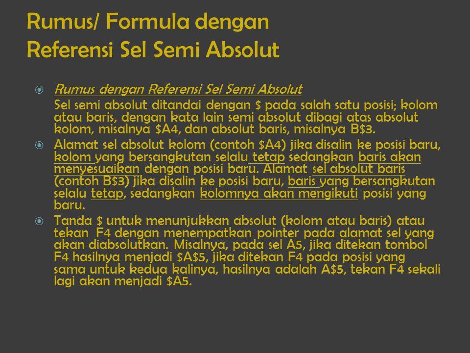 Rumus/ Formula dengan Referensi Sel Semi Absolut  Rumus dengan Referensi Sel Semi Absolut Sel semi absolut ditandai dengan $ pada salah satu posisi;