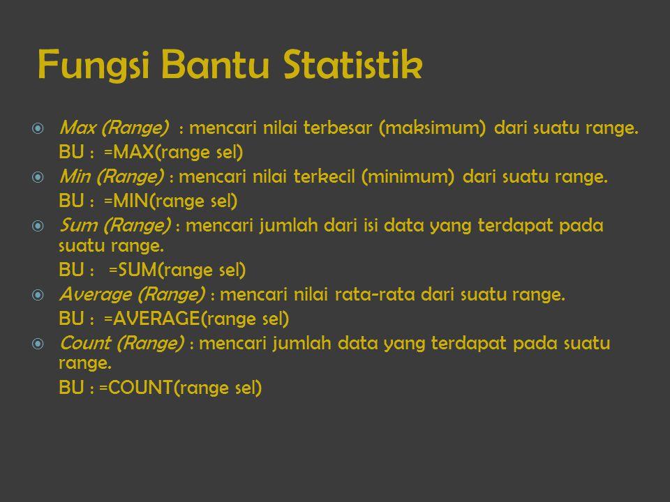 Fungsi Bantu Statistik  Max (Range) : mencari nilai terbesar (maksimum) dari suatu range. BU : =MAX(range sel)  Min (Range) : mencari nilai terkecil