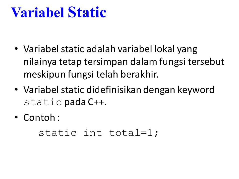 Contoh tanpa penggunaan variabel static #include using namespace std; void tambahBarang(int jumlah = 1) { int total=0; total += jumlah; cout<< Jumlah barang sekarang : <<total<<endl; } void main() { tambahBarang(5); tambahBarang(1); tambahBarang(3); tambahBarang(-4); _getch(); }