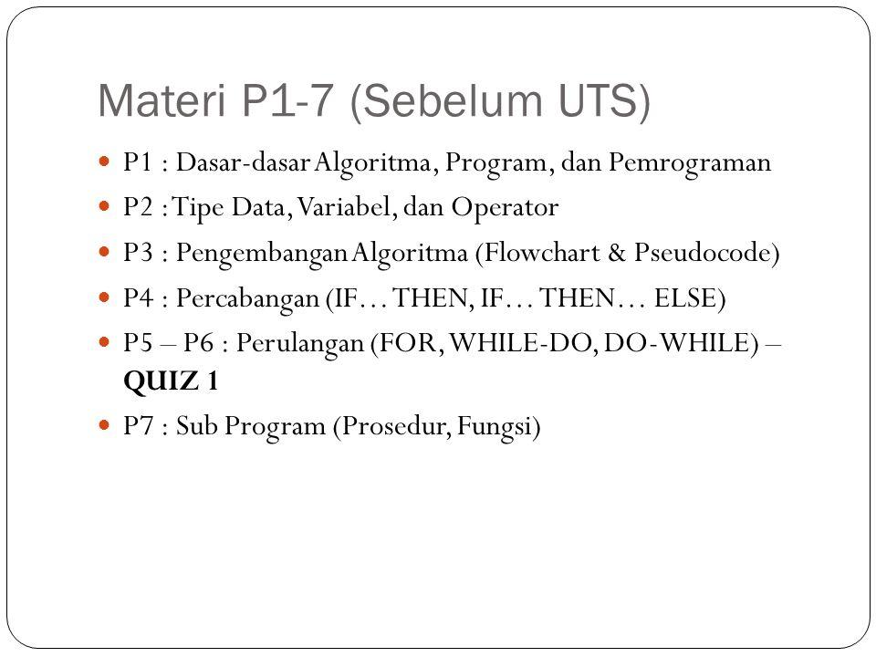 Materi P8-14 (Sesudah UTS) P8 : Sub Program (Stack, Rekursi ) P9 : Variabel Array ( 1 Dimensi) P10 : Variabel Array ( 2 Dimensi) P11 : Pengurutan (Sorting) P12 : Pengenalan Bahasa Pemrograman I P13 : Pengenalan Bahasa Pemrograman II P14 : Review dan QUIZ 2