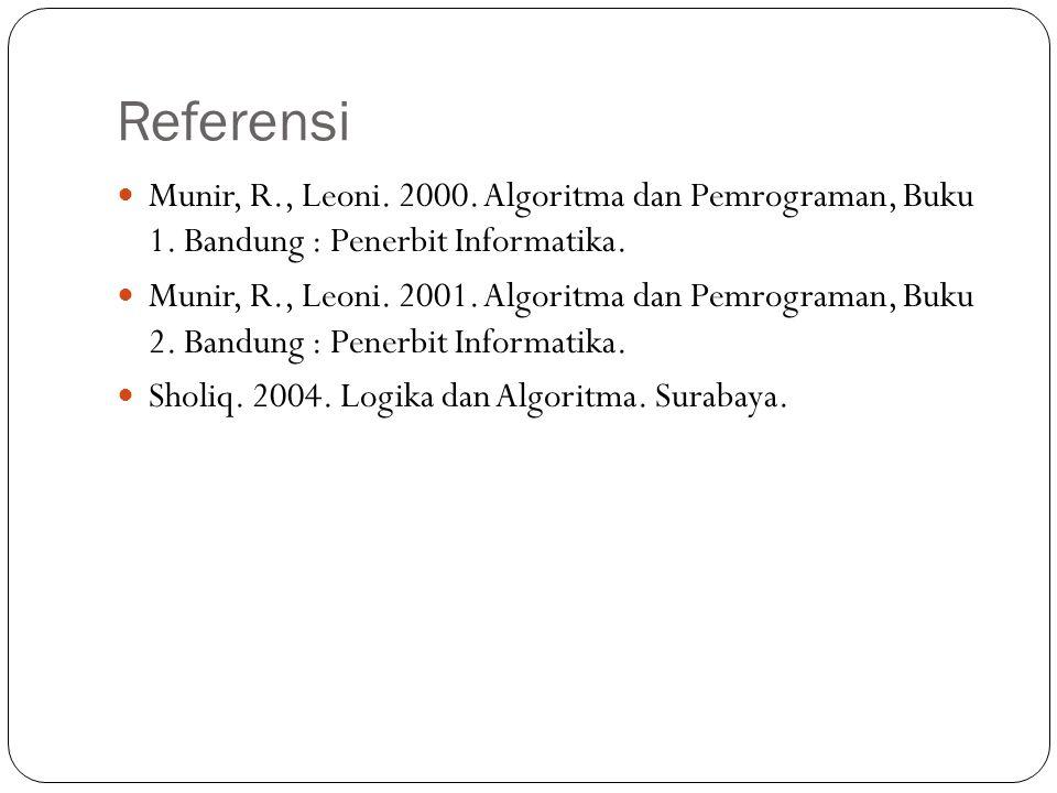 Referensi Munir, R., Leoni. 2000. Algoritma dan Pemrograman, Buku 1. Bandung : Penerbit Informatika. Munir, R., Leoni. 2001. Algoritma dan Pemrograman