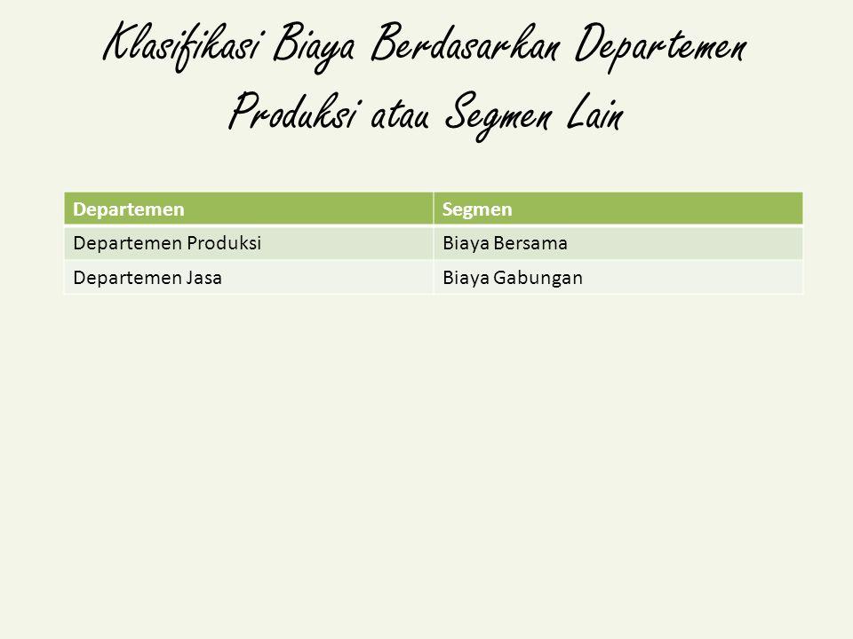 Klasifikasi Biaya Berdasarkan Departemen Produksi atau Segmen Lain DepartemenSegmen Departemen ProduksiBiaya Bersama Departemen JasaBiaya Gabungan