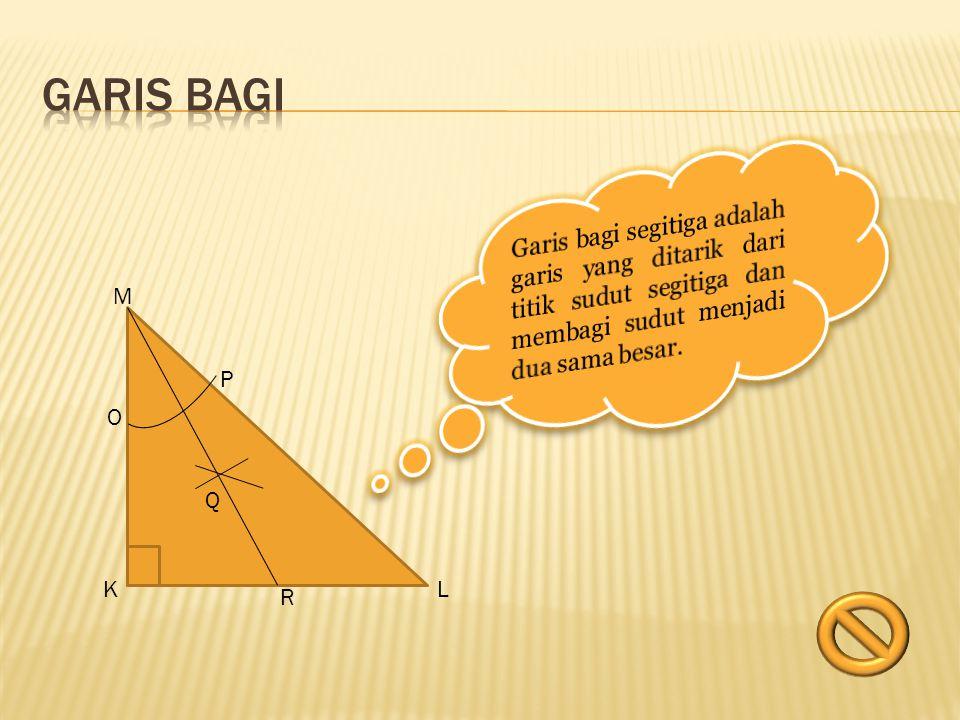 Garis sumbu suatu segitiga adalah garis yang membagi sisi- sisi segitiga menjadi dua bagian sama panjang dan tegak lurus pada sisi-sisi tersebut.