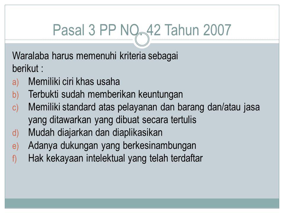 Pasal 3 PP NO. 42 Tahun 2007 Waralaba harus memenuhi kriteria sebagai berikut : a) Memiliki ciri khas usaha b) Terbukti sudah memberikan keuntungan c)