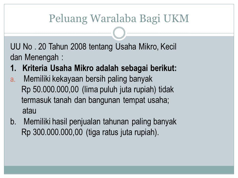 Peluang Waralaba Bagi UKM UU No.20 Tahun 2008 tentang Usaha Mikro, Kecil dan Menengah : 1.