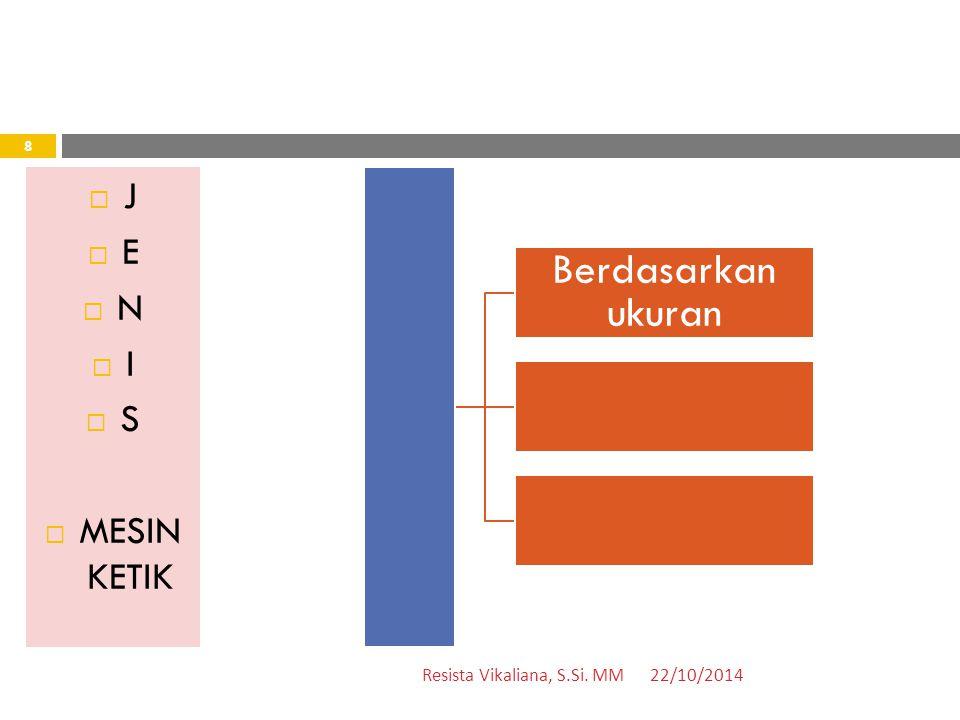  J  E  N  I  S  MESIN KETIK Berdasarkan ukuran 22/10/2014 8 Resista Vikaliana, S.Si. MM