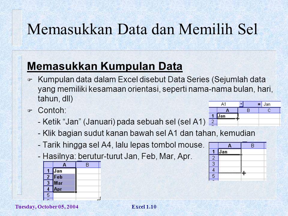Tuesday, October 05, 2004Excel 1.10 Memasukkan Data dan Memilih Sel Memasukkan Kumpulan Data  Kumpulan data dalam Excel disebut Data Series (Sejumlah