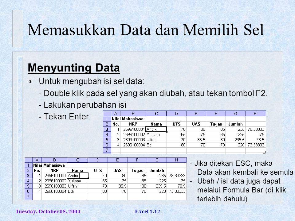 Tuesday, October 05, 2004Excel 1.12 Memasukkan Data dan Memilih Sel Menyunting Data  Untuk mengubah isi sel data: - Double klik pada sel yang akan di