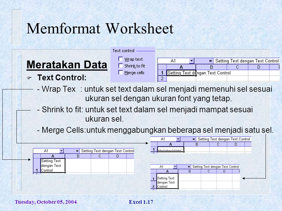 Tuesday, October 05, 2004Excel 1.17 Memformat Worksheet Meratakan Data  Text Control: - Wrap Tex : untuk set text dalam sel menjadi memenuhi sel sesu