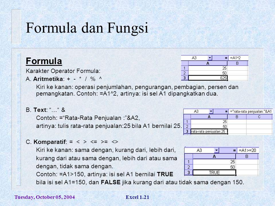 Tuesday, October 05, 2004Excel 1.21 Formula dan Fungsi Formula Karakter Operator Formula: A. Aritmetika: + - * / % ^ Kiri ke kanan: operasi penjumlaha