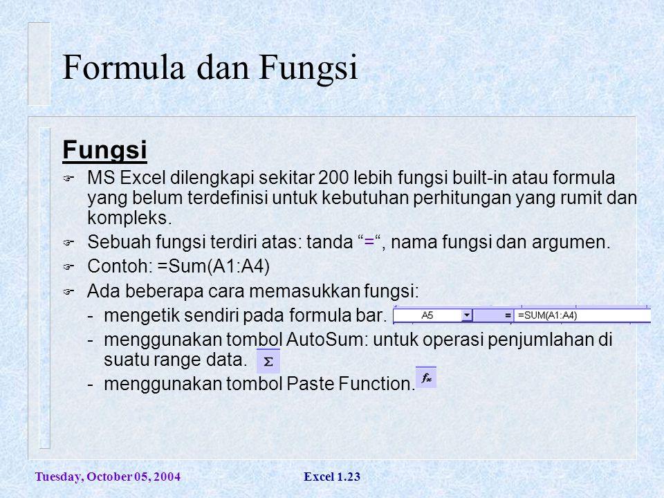 Tuesday, October 05, 2004Excel 1.23 Formula dan Fungsi Fungsi  MS Excel dilengkapi sekitar 200 lebih fungsi built-in atau formula yang belum terdefin