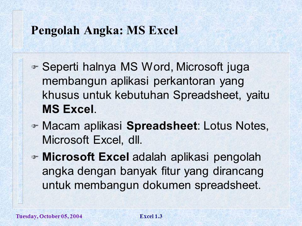Tuesday, October 05, 2004Excel 1.3  Seperti halnya MS Word, Microsoft juga membangun aplikasi perkantoran yang khusus untuk kebutuhan Spreadsheet, ya