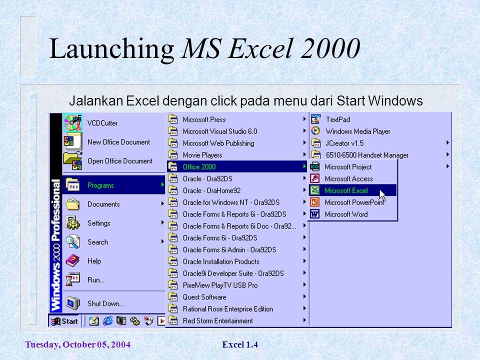 Tuesday, October 05, 2004Excel 1.4 Launching MS Excel 2000 Jalankan Excel dengan click pada menu dari Start Windows