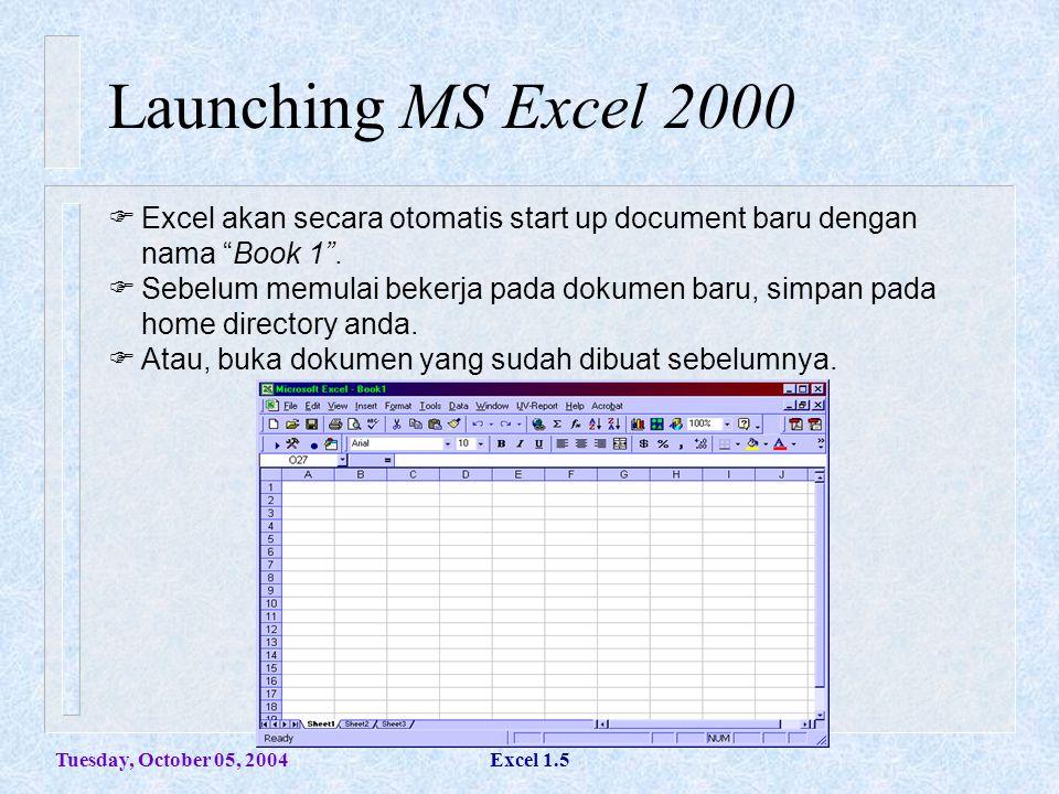 Tuesday, October 05, 2004Excel 1.16 Memformat Worksheet Meratakan Data  Untuk meratakan format text atau bilangan pada suatu sel (rata kiri/rata kanan/ rata tengah/rata atas/rata bawah) dapat di set melalui propertisnya.