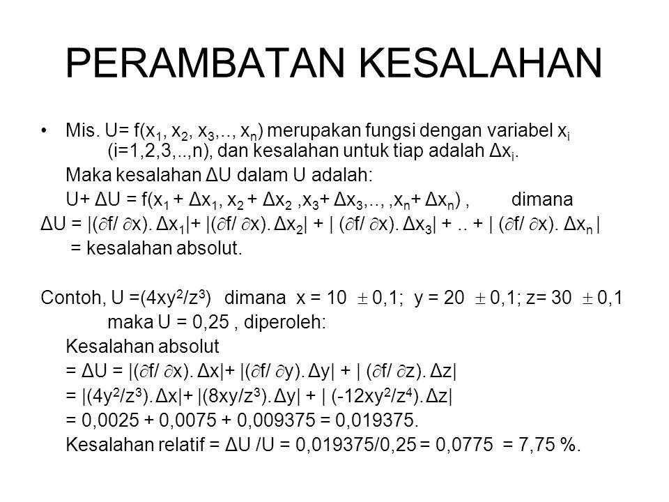 PERAMBATAN KESALAHAN Mis. U= f(x 1, x 2, x 3,.., x n ) merupakan fungsi dengan variabel x i (i=1,2,3,..,n), dan kesalahan untuk tiap adalah Δx i. Maka