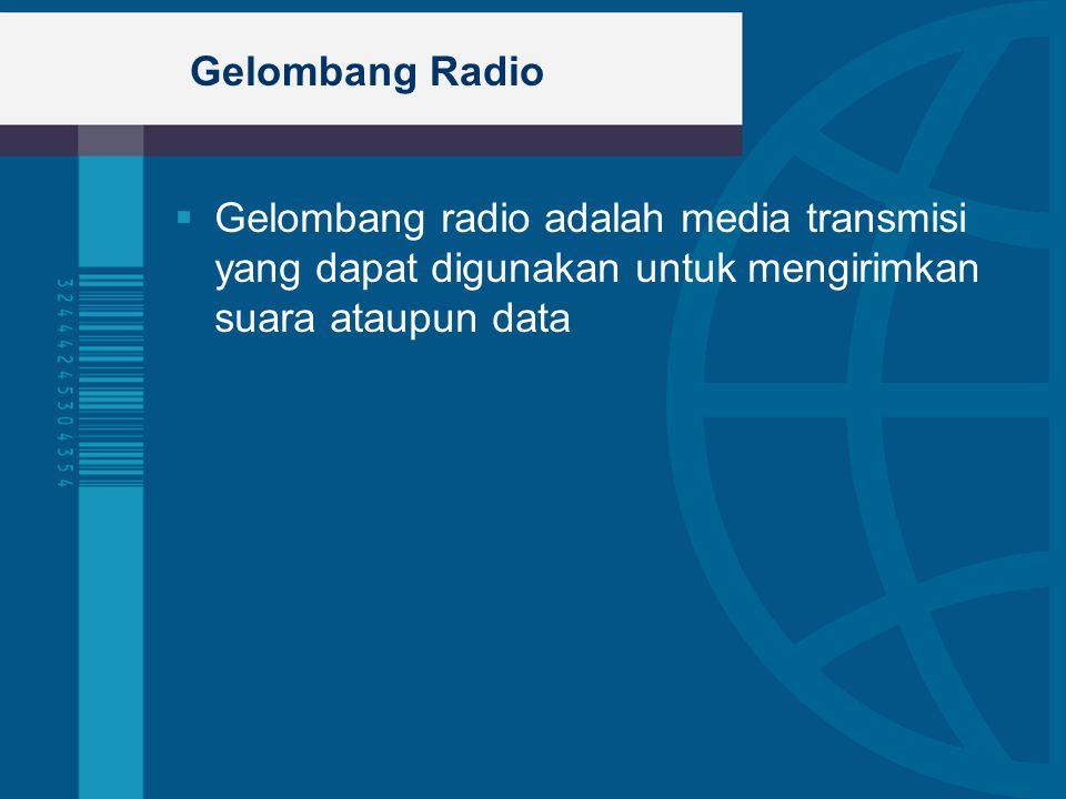 Gelombang Radio  Gelombang radio adalah media transmisi yang dapat digunakan untuk mengirimkan suara ataupun data