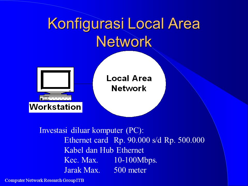 Computer Network Research Group ITB Konfigurasi Local Area Network Investasi diluar komputer (PC): Ethernet cardRp.