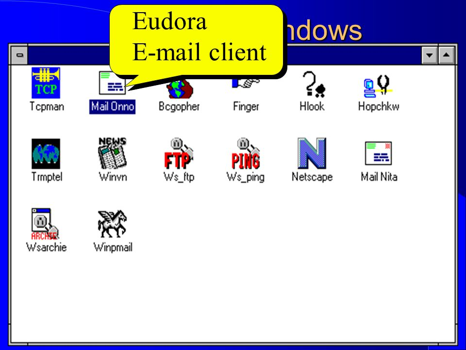 Computer Network Research Group ITB Internet in Windows Eudora E-mail client