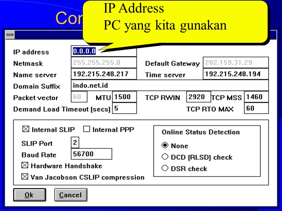 Computer Network Research Group ITB Contoh Setup Winsock IP Address PC yang kita gunakan