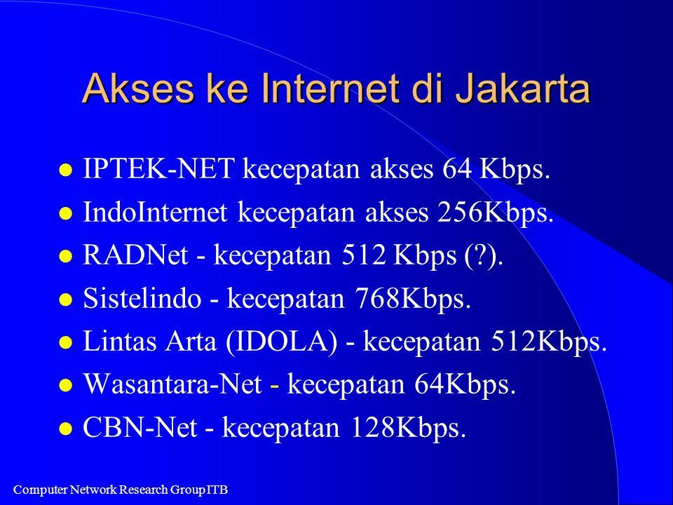 Computer Network Research Group ITB Akses ke Internet di Jakarta l IPTEK-NET kecepatan akses 64 Kbps.
