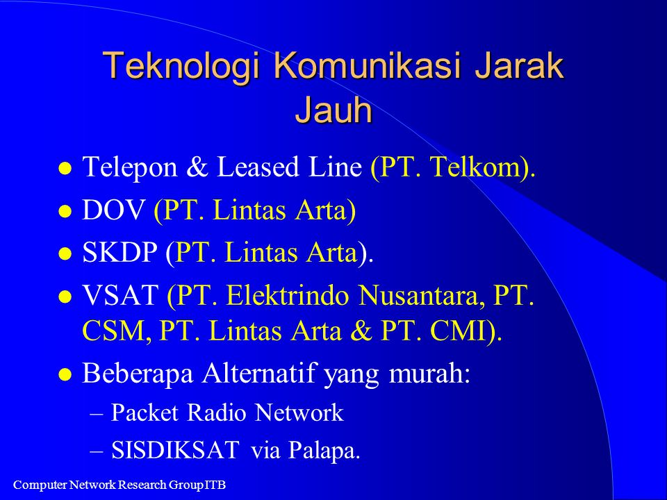 Computer Network Research Group ITB Teknologi Komunikasi Jarak Jauh l Telepon & Leased Line (PT.