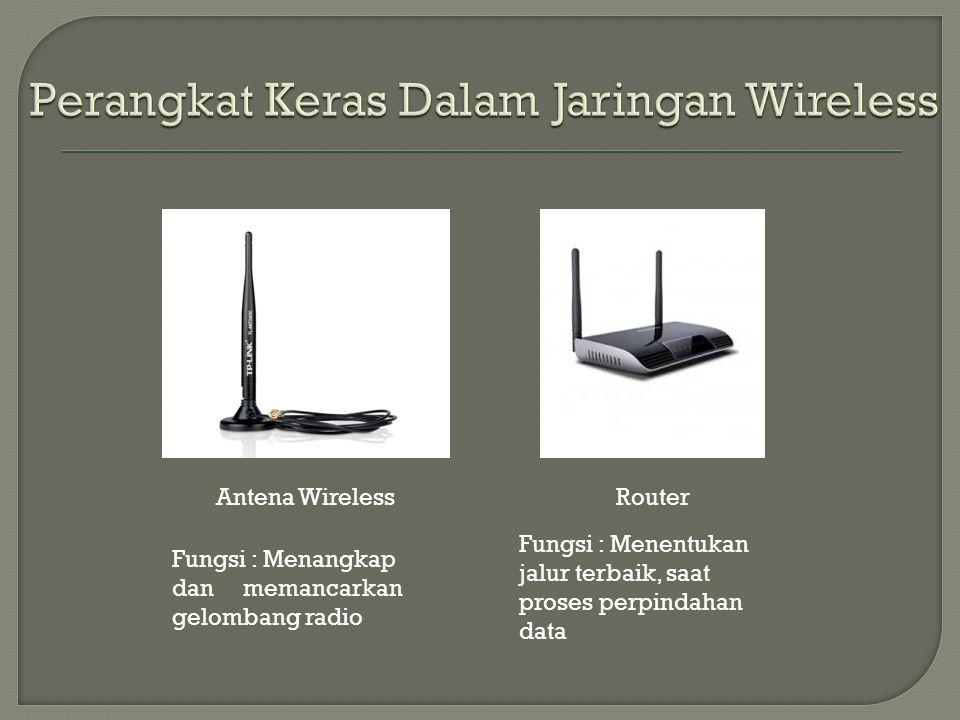 Fungsi : Menangkap dan memancarkan gelombang radio Antena WirelessRouter Fungsi : Menentukan jalur terbaik, saat proses perpindahan data