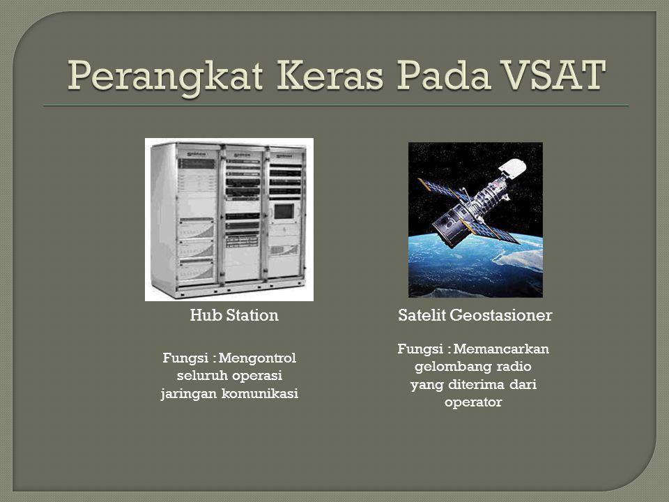 Hub Station Fungsi : Mengontrol seluruh operasi jaringan komunikasi Satelit Geostasioner Fungsi : Memancarkan gelombang radio yang diterima dari opera