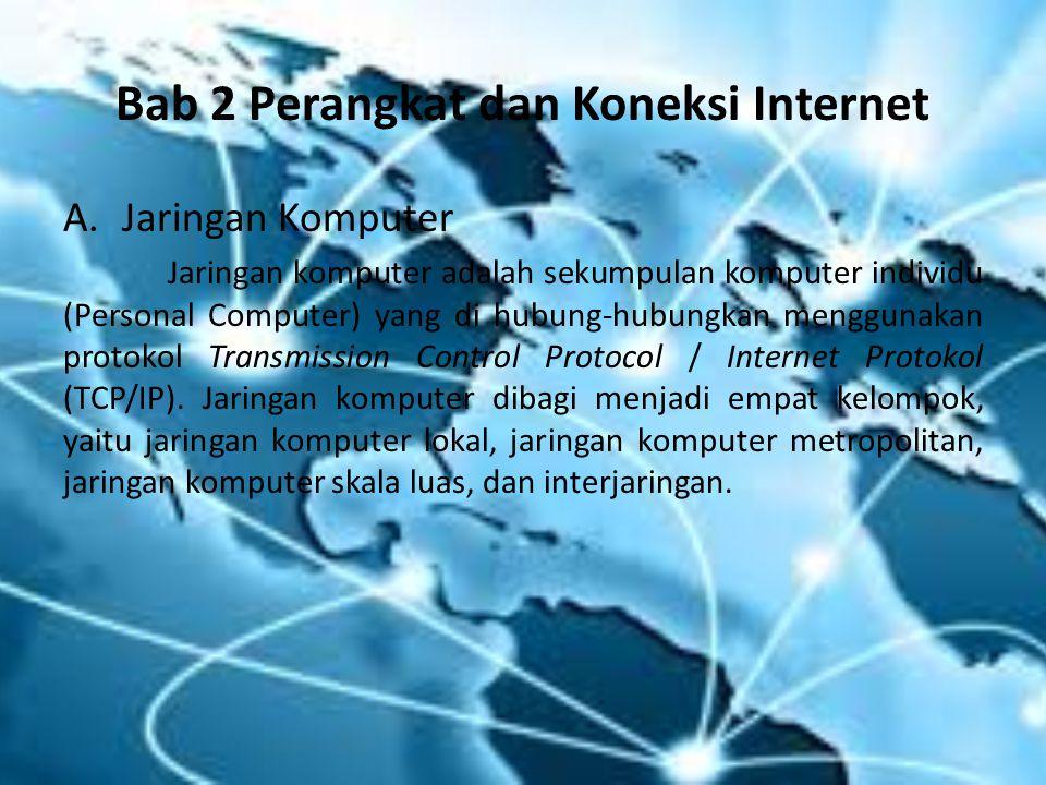Bab 2 Perangkat dan Koneksi Internet A.Jaringan Komputer Jaringan komputer adalah sekumpulan komputer individu (Personal Computer) yang di hubung-hubu