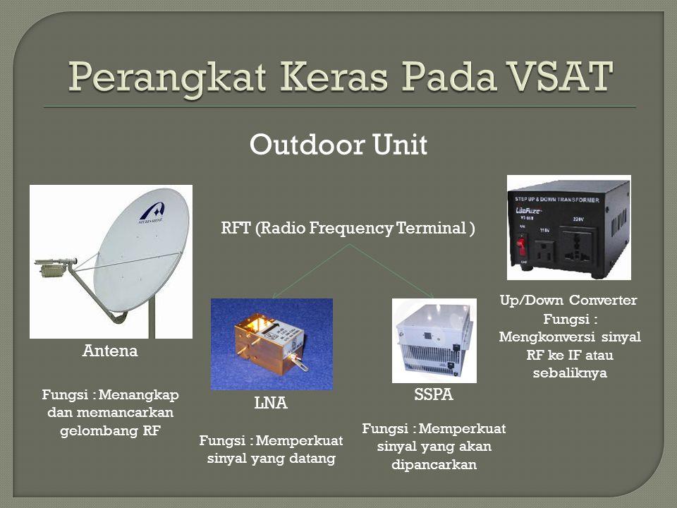Outdoor Unit Antena Fungsi : Menangkap dan memancarkan gelombang RF RFT (Radio Frequency Terminal ) LNA Fungsi : Memperkuat sinyal yang datang Fungsi