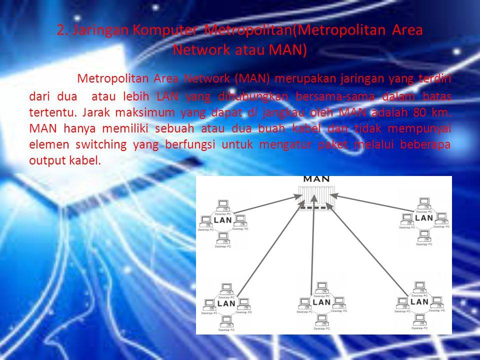 2. Jaringan Komputer Metropolitan(Metropolitan Area Network atau MAN) Metropolitan Area Network (MAN) merupakan jaringan yang terdiri dari dua atau le