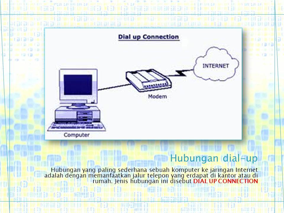 Hubungan yang paling sederhana sebuah komputer ke jaringan Internet adalah dengan memanfaatkan jalur telepon yang erdapat di kantor atau di rumah. Jen