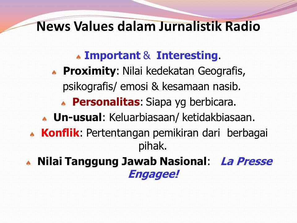 News Values dalam Jurnalistik Radio  Important & Interesting.  Proximity: Nilai kedekatan Geografis, psikografis/ emosi & kesamaan nasib.  Personal