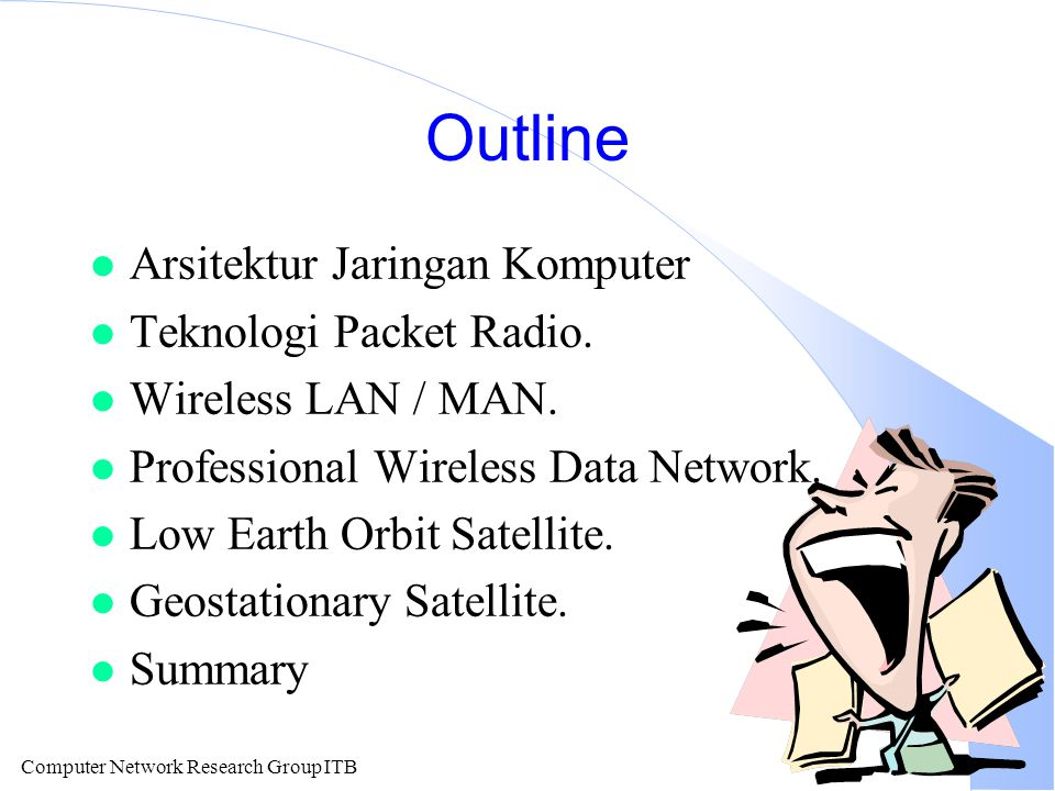 Computer Network Research Group ITB Outline l Arsitektur Jaringan Komputer l Teknologi Packet Radio. l Wireless LAN / MAN. l Professional Wireless Dat