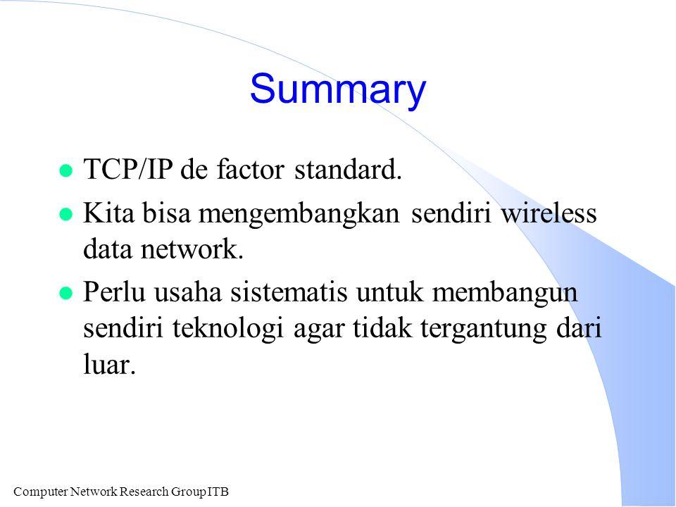 Computer Network Research Group ITB Summary l TCP/IP de factor standard. l Kita bisa mengembangkan sendiri wireless data network. l Perlu usaha sistem