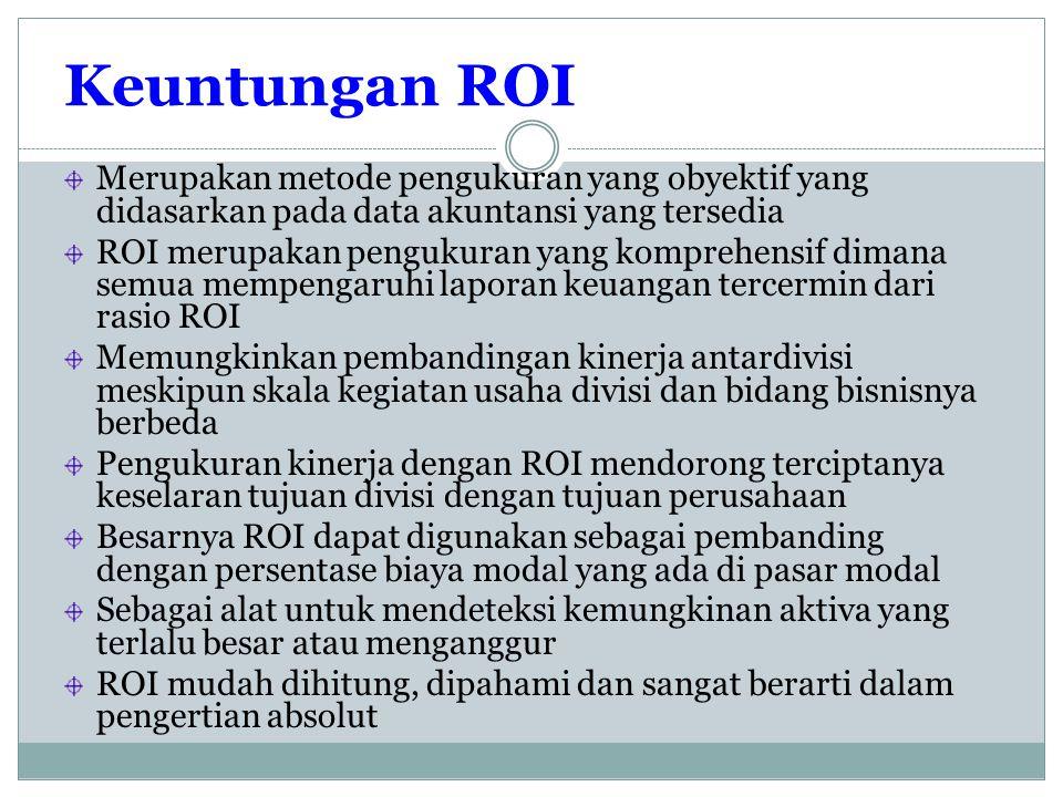 Keuntungan ROI Merupakan metode pengukuran yang obyektif yang didasarkan pada data akuntansi yang tersedia ROI merupakan pengukuran yang komprehensif