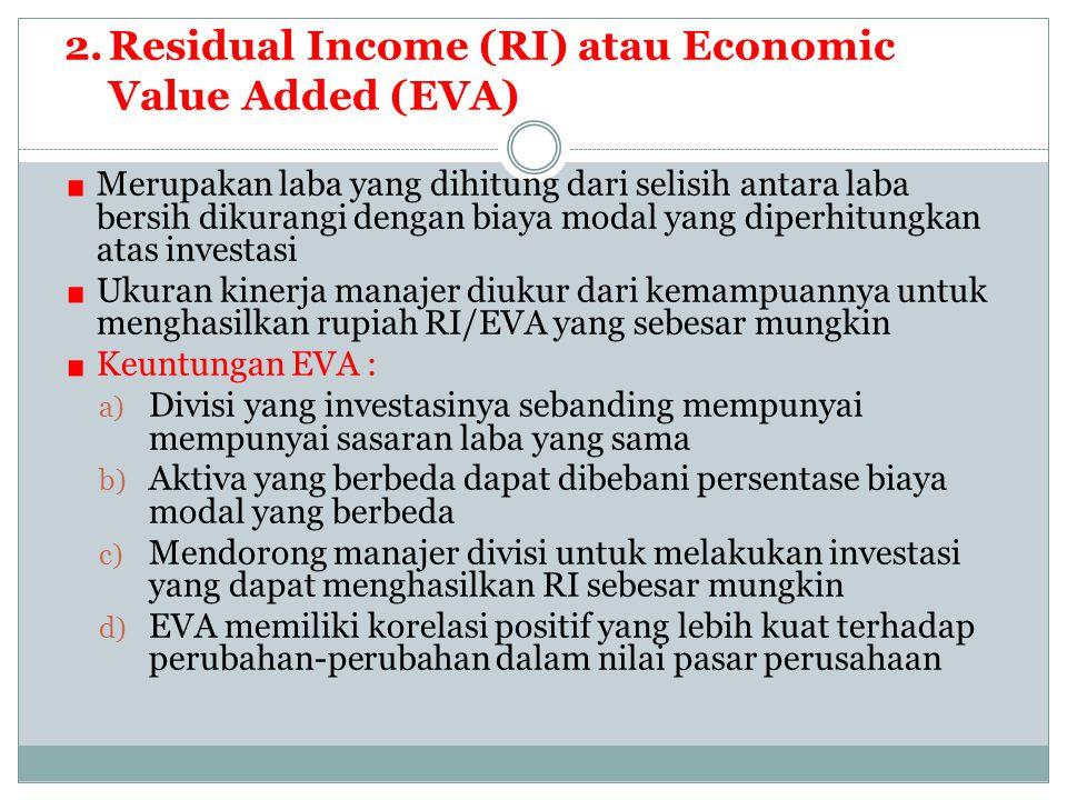 2.Residual Income (RI) atau Economic Value Added (EVA) Merupakan laba yang dihitung dari selisih antara laba bersih dikurangi dengan biaya modal yang