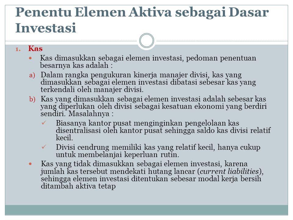 Penentu Elemen Aktiva sebagai Dasar Investasi 1. Kas Kas dimasukkan sebagai elemen investasi, pedoman penentuan besarnya kas adalah : a) Dalam rangka
