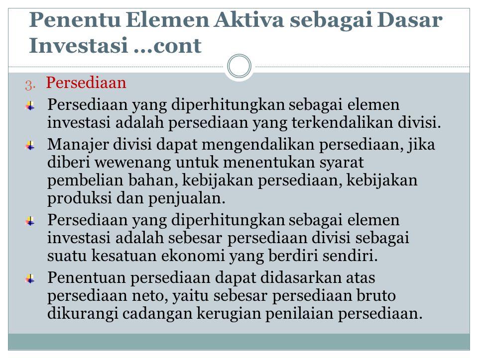 Penentu Elemen Aktiva sebagai Dasar Investasi …cont 3. Persediaan Persediaan yang diperhitungkan sebagai elemen investasi adalah persediaan yang terke