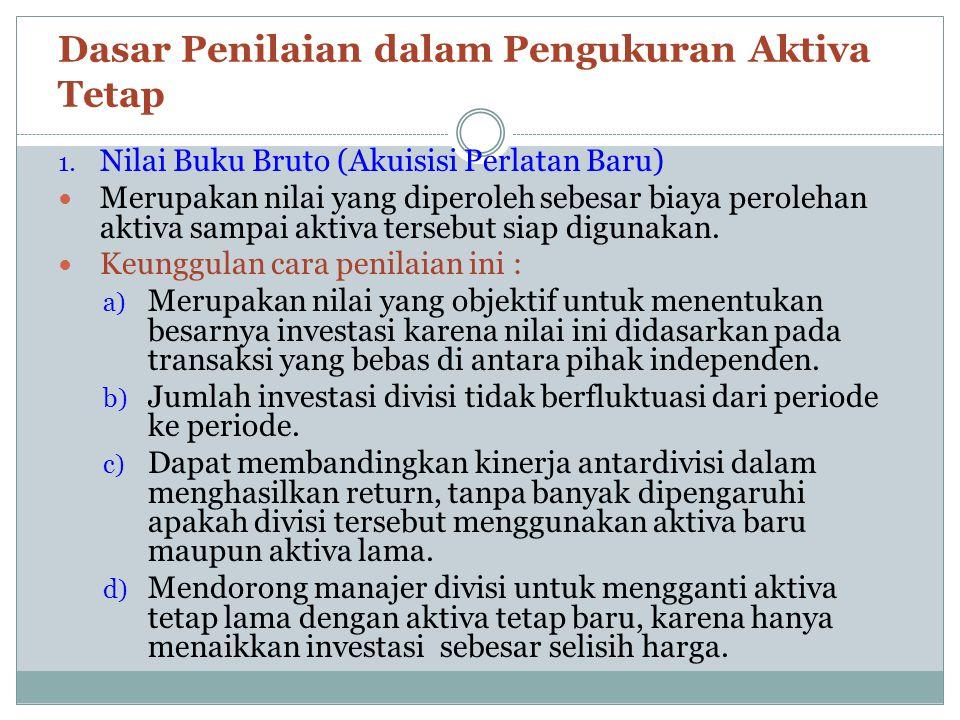 2.Residual Income (RI) atau Economic Value Added (EVA) Merupakan laba yang dihitung dari selisih antara laba bersih dikurangi dengan biaya modal yang diperhitungkan atas investasi Ukuran kinerja manajer diukur dari kemampuannya untuk menghasilkan rupiah RI/EVA yang sebesar mungkin Keuntungan EVA : a) Divisi yang investasinya sebanding mempunyai mempunyai sasaran laba yang sama b) Aktiva yang berbeda dapat dibebani persentase biaya modal yang berbeda c) Mendorong manajer divisi untuk melakukan investasi yang dapat menghasilkan RI sebesar mungkin d) EVA memiliki korelasi positif yang lebih kuat terhadap perubahan-perubahan dalam nilai pasar perusahaan