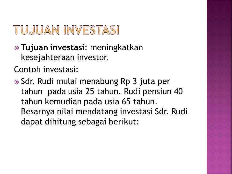  Tujuan investasi: meningkatkan kesejahteraan investor. Contoh investasi:  Sdr. Rudi mulai menabung Rp 3 juta per tahun pada usia 25 tahun. Rudi pen