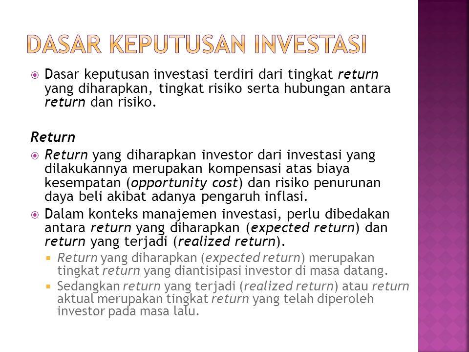  Dasar keputusan investasi terdiri dari tingkat return yang diharapkan, tingkat risiko serta hubungan antara return dan risiko. Return  Return yang