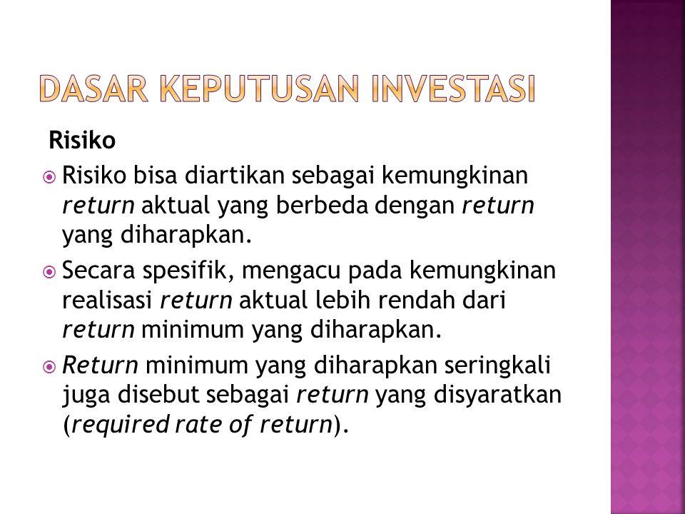 Risiko  Risiko bisa diartikan sebagai kemungkinan return aktual yang berbeda dengan return yang diharapkan.  Secara spesifik, mengacu pada kemungkin