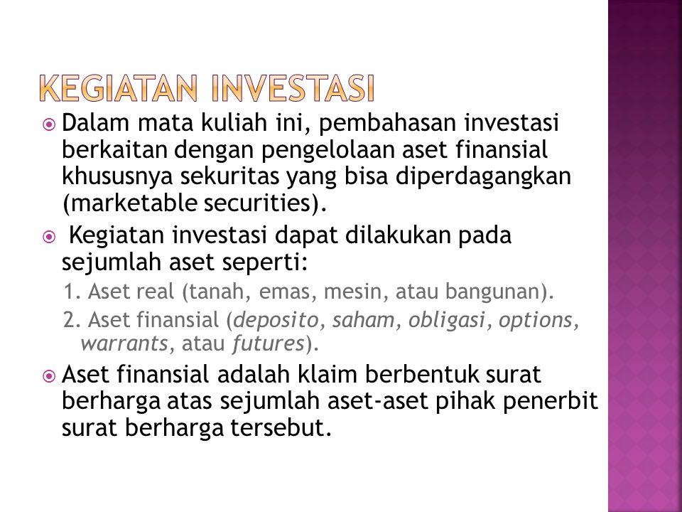  Dalam mata kuliah ini, pembahasan investasi berkaitan dengan pengelolaan aset finansial khususnya sekuritas yang bisa diperdagangkan (marketable securities).
