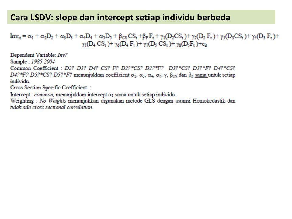 Cara LSDV: slope dan intercept setiap individu berbeda