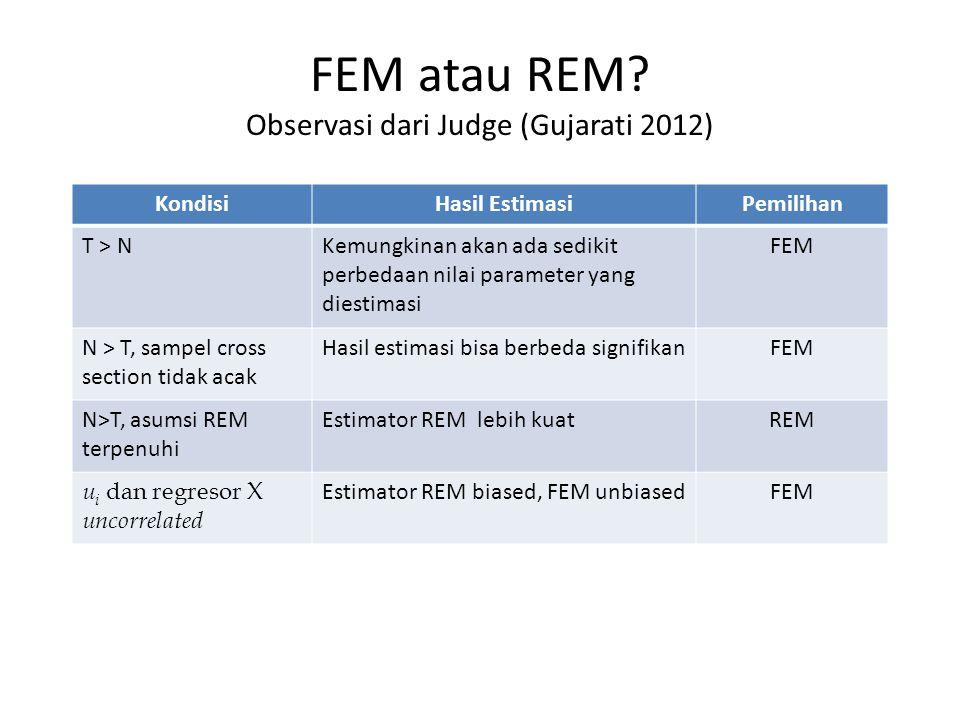 FEM atau REM? Observasi dari Judge (Gujarati 2012) KondisiHasil EstimasiPemilihan T > NKemungkinan akan ada sedikit perbedaan nilai parameter yang die