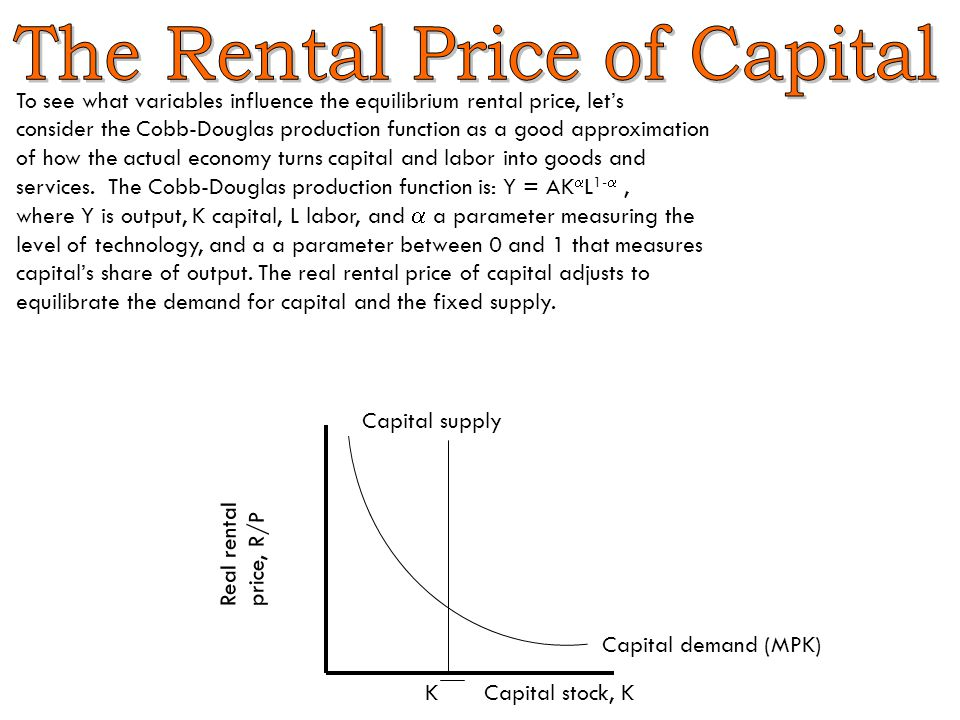 To see what variables influence the equilibrium rental price, let's consider the Cobb-Douglas production function as a good approximation of how the actual economy turns capital and labor into goods and services.