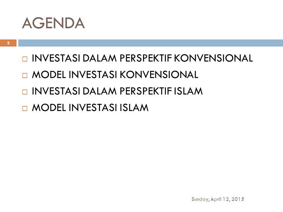 AGENDA  INVESTASI DALAM PERSPEKTIF KONVENSIONAL  MODEL INVESTASI KONVENSIONAL  INVESTASI DALAM PERSPEKTIF ISLAM  MODEL INVESTASI ISLAM Sunday, Apr