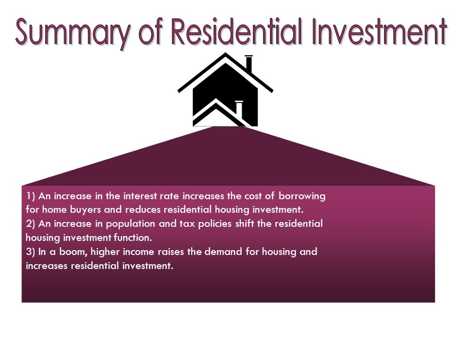 1) An increase in the interest rate increases the cost of borrowing for home buyers and reduces residential housing investment.