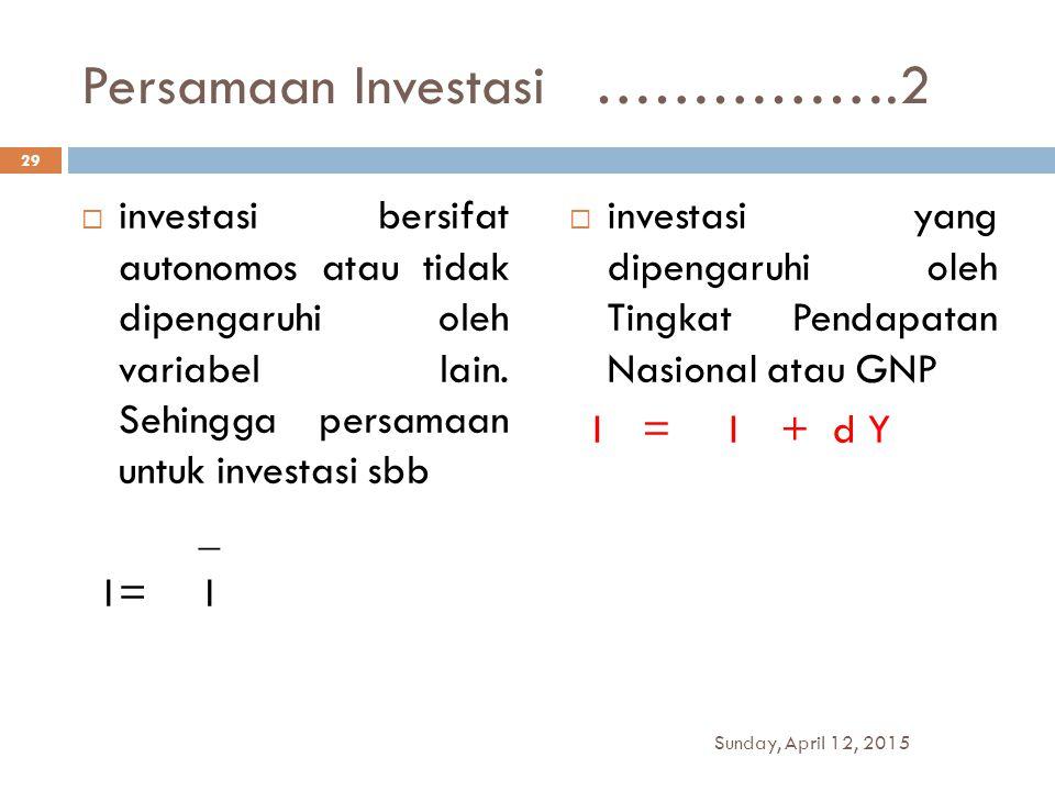Persamaan Investasi …………….2  investasi bersifat autonomos atau tidak dipengaruhi oleh variabel lain. Sehingga persamaan untuk investasi sbb _ I= I 